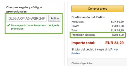 Codigo promocional amazon 354795